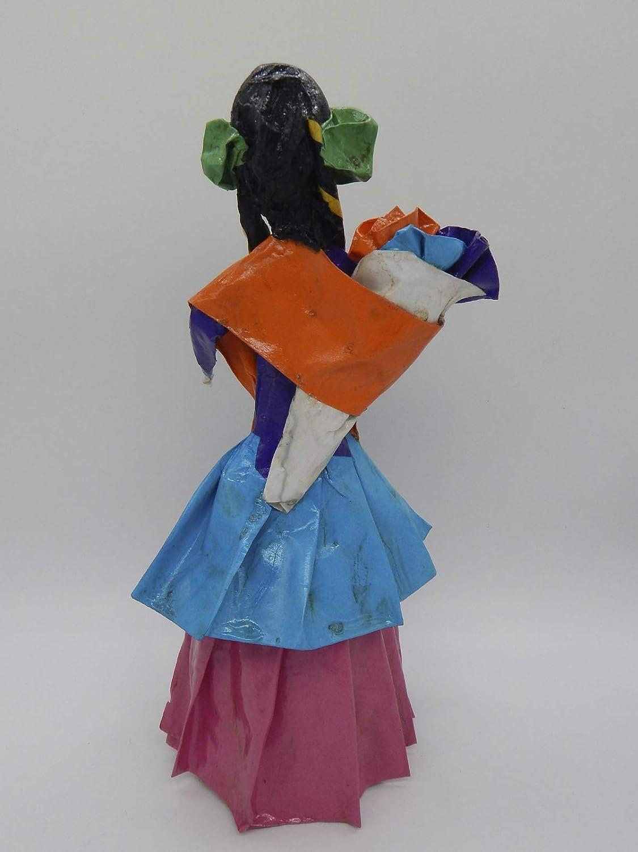 COLOR Y TRADICI/ÓN Mexican Catrina Doll Day of Dead Skeleton Paper Mache Dia de Los Muertos Skull Folk Art Halloween Decoration # 1552