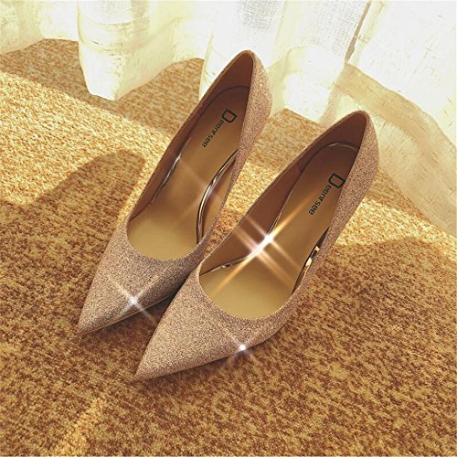 sposa con singole femminili sposa scarpe da sposa rosa oro 38 Scarpette a scarpe da Xue 10CM fini da scarpe Scarpe femminili scarpe punta alti da sposa Qiqi tacchi gxn1xAwq6