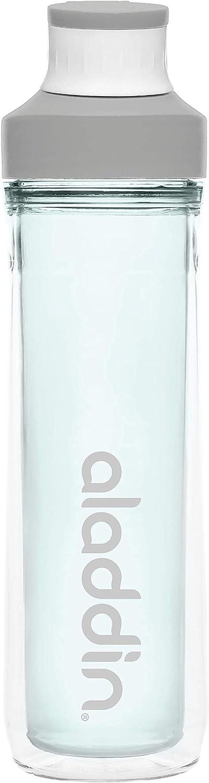 Aladdin Active Hydration - Botella deportiva de doble pared (500 ml, antigoteo, con correa para los dedos), color blanco