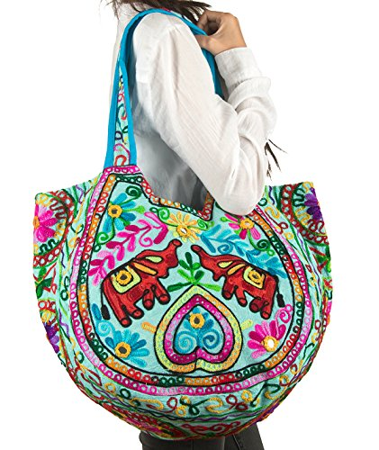 Fair Trade Elephant (Tribe Azure Elephant Women Large Shoulder Bag Tote Purse Handbag Everyday Fashion Casual School Market Laptop Books Embroidered Boho Summer Beach Comfortable (Turquoise))