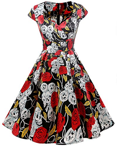 Bbonlinedress Women Short 1950s Retro Vintage Cocktail Party Swing Dresses Black Skull 2XL
