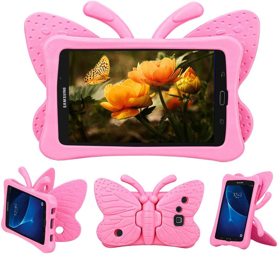 Tading Kids Case for Samsung Galaxy Tab A 7.0, Children Friendly Lightweight and Shockproof EVA Foam Full Protection Stand Cover for SM T280 T285 (Not Fit SM Tab A10.1/9.7/8.0) - Cute Butterfly/Pink