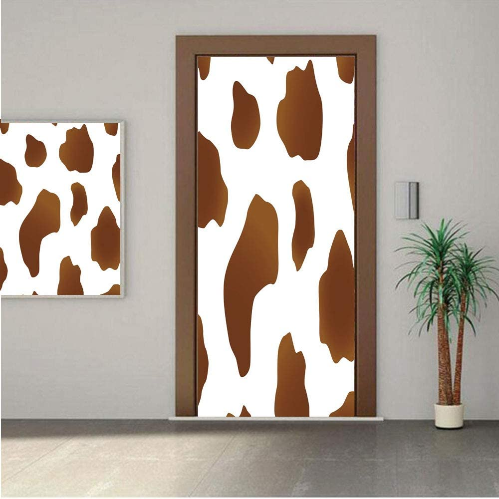 "Cow Print Premium Stickers for Door/Wall/Fridge Home DecorBrown Spots on a White Cow Skin Abstract Art Cattle Fur Farm Animals Cowboy Barn Decorative 24x80"" ONE Piece Sticky Mural,Decal,Cover,Skin"