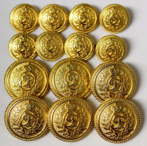 Half dome brass tone metal alloy BLAZER BUTTON SET Wreath and crown 14 buttons for double breasted jackets - Brass Wreath