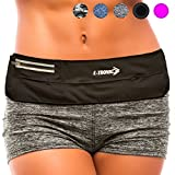 Cheap Running Belt Best Waist Pack: Fanny Pouch Waistband Case (Black Sport Fit) Holds All Cell Phones Sports Fitness Holder Bag fits Women Men Jog Runners With Water Resistant Zipper Pocket All Waist Sizes