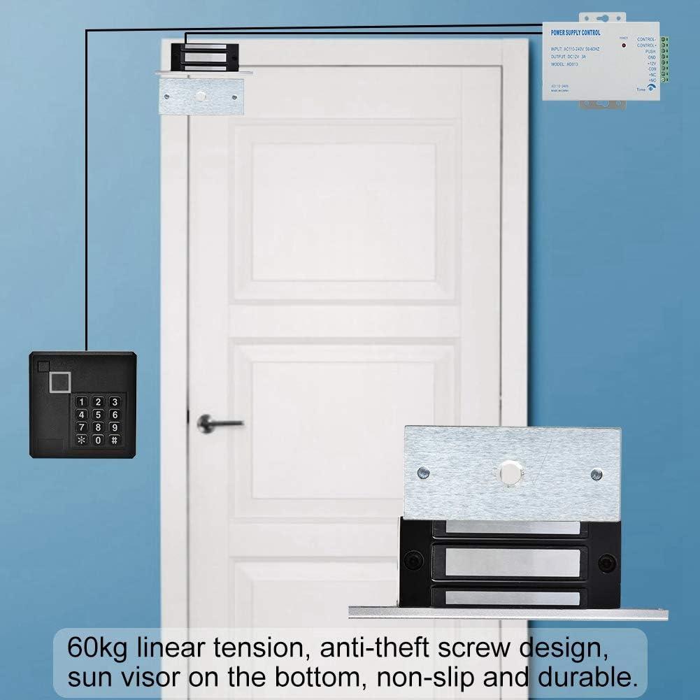 Cerradura de electroimán de 130 lb, cerradura magnética con fuerza de retención DC12V, adecuada para puerta de madera, puerta de vidrio, puerta de metal, puerta cortafuego con modo NC a prueba de