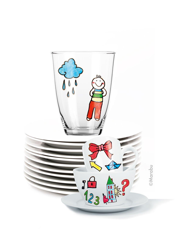 Universalspitze 1-3 mm Porcelain und Glas Painter Kids Set Mega Fun Porzellanmalstifte für Kinder 10er Set Marabu 0125000000084 spülmaschinenfest nach Einbrennen