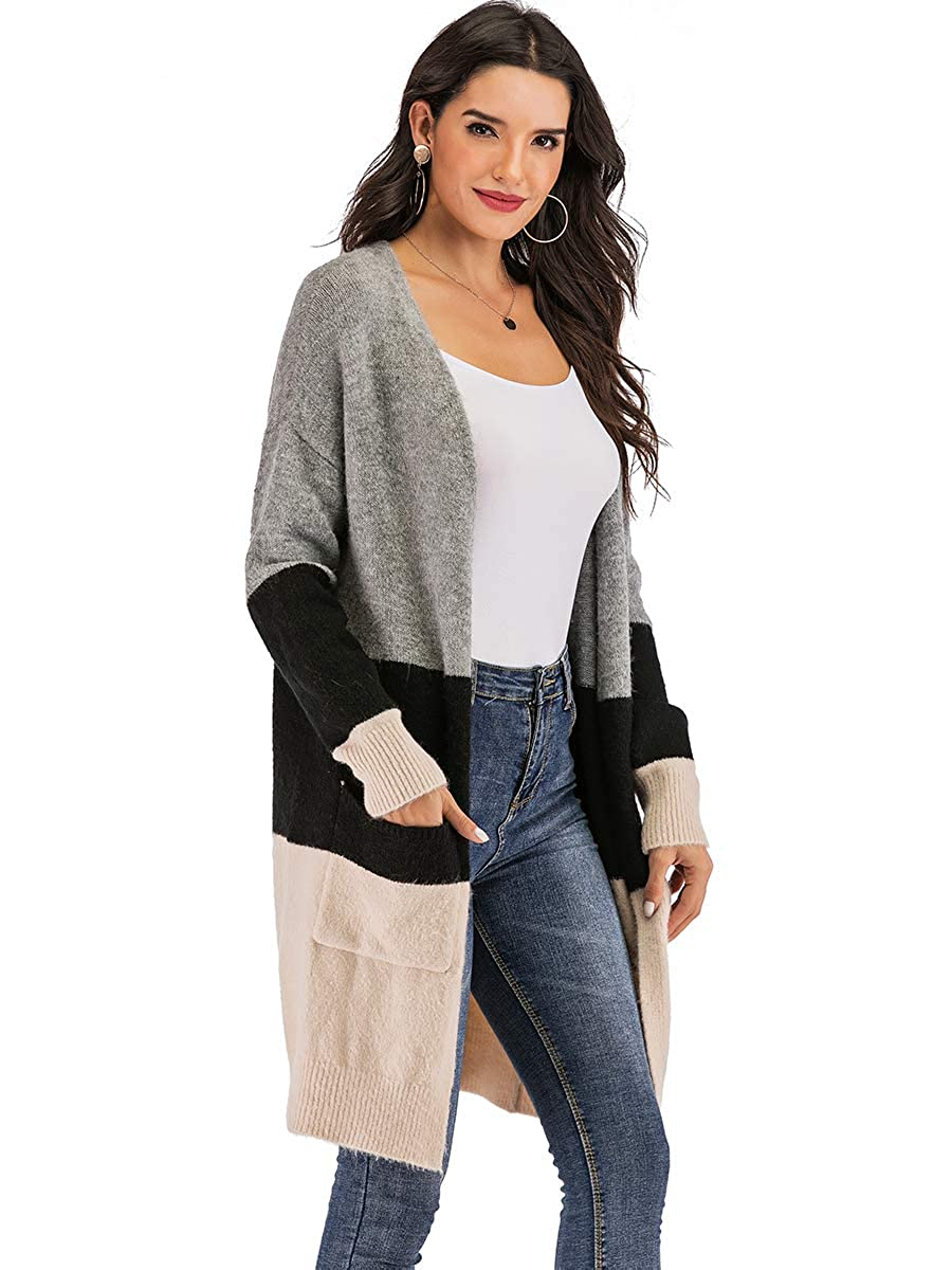 Yomoko Womens Long Sleeve Oversized Open Front Color Block Striped and Cable Knit Cardigans Sweater with Pocket
