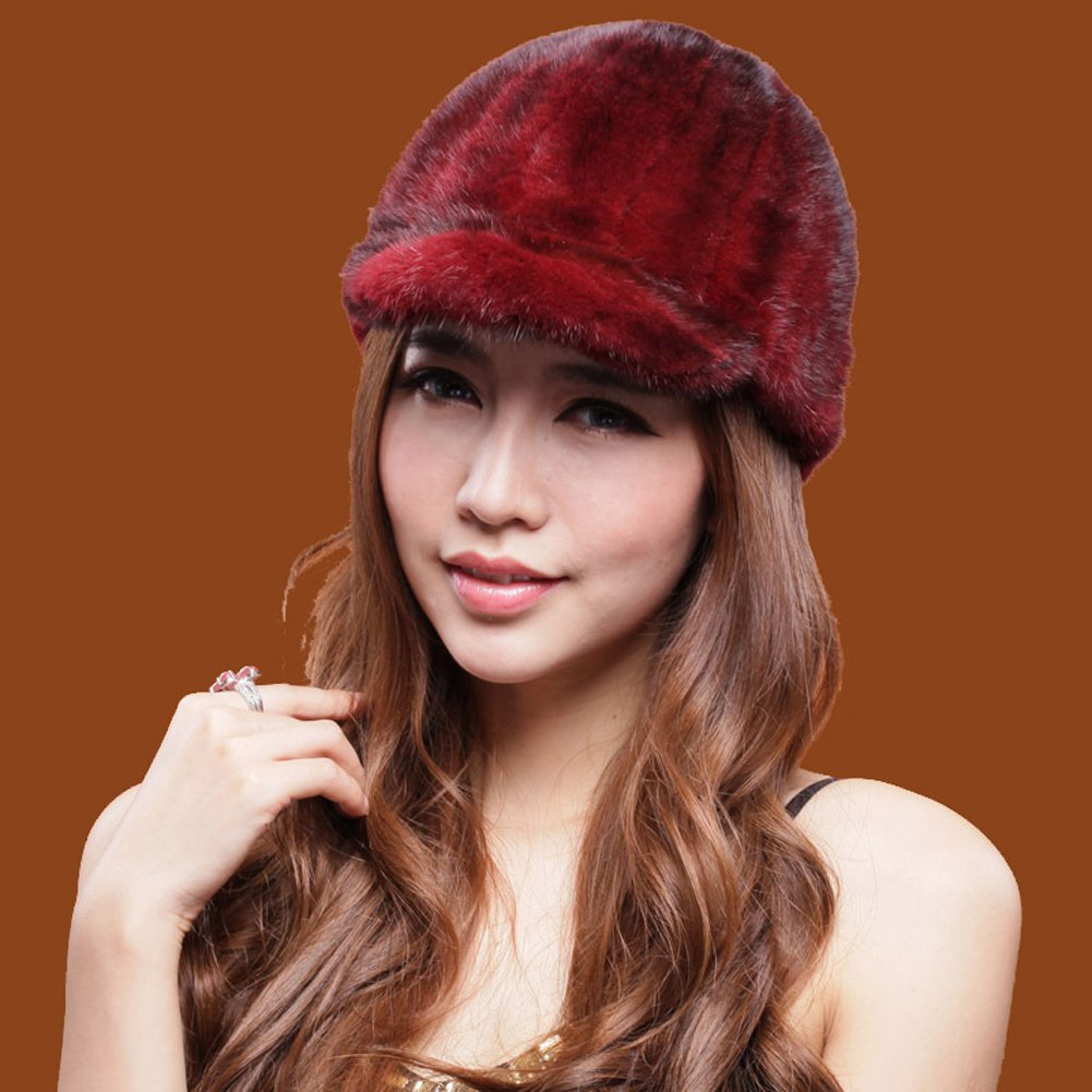 MINGXINTECH womens real mink fur peak cap winter outdoors warm casquette ladies hat by MINGXINTECH (Image #2)