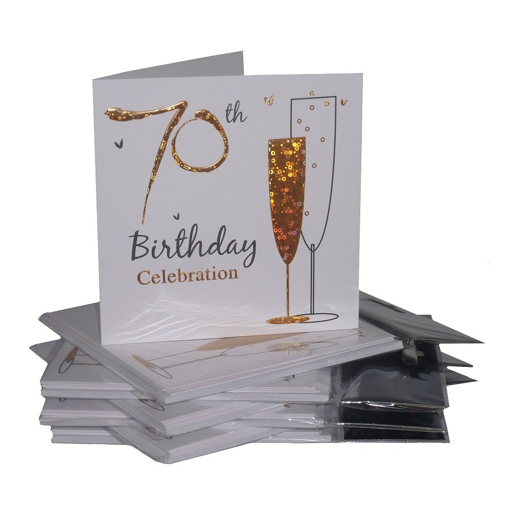 Multipack Gold Champagne Glass 70th Birthday Party Invitation Cards ...