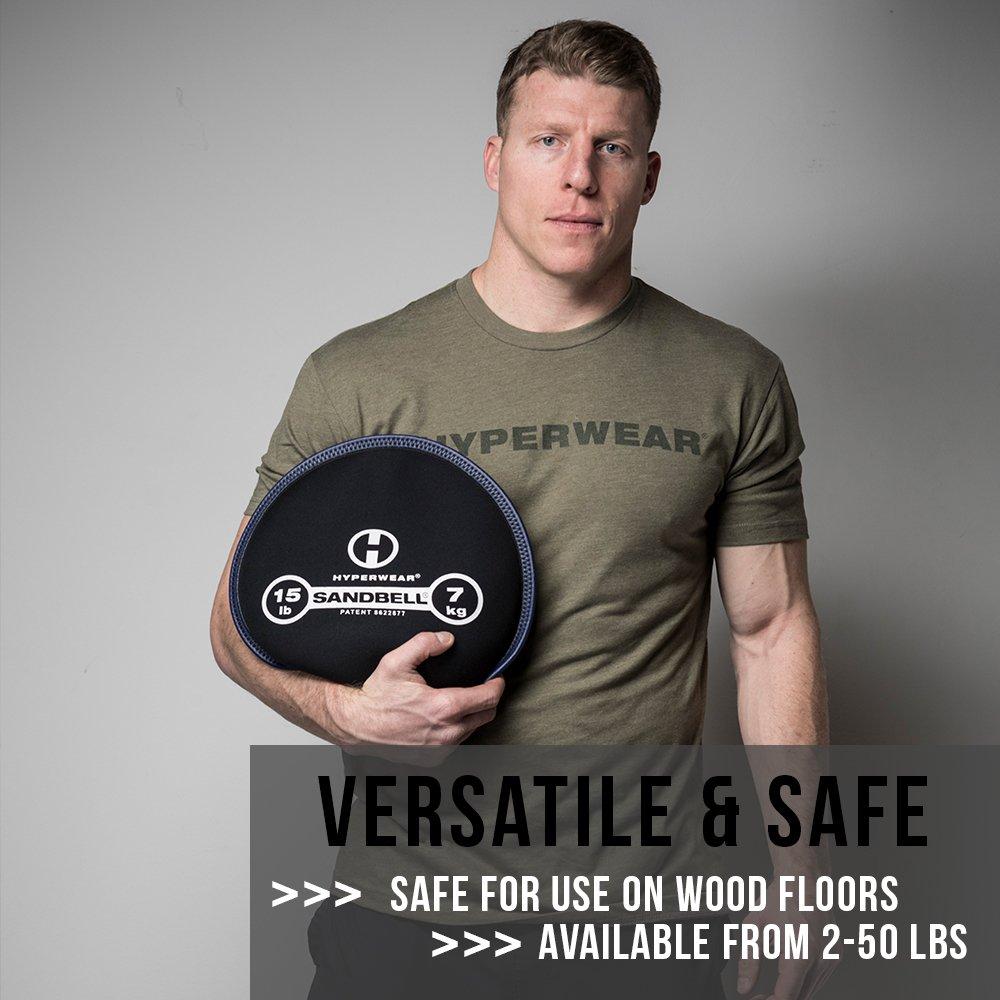 Bolsa de arena tipo pesa de Hyperwear para entrenar de 1 a 23/kg de peso libre negro precargada