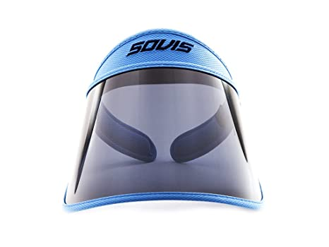 Amazon.com   SOVIS Sky Blue Extra Length over 99% UVB and UVA2   97.2% UVA1  protection Facial Protection Sun Cap Solar Visor Hat Worldwide Patented ... eec69b27b98