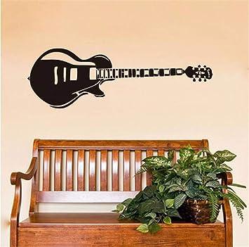 Juabc Arte guitarra eléctrica pegatinas de pared silueta música ...