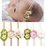 CHIC-CHIC 6PCS Newborn Baby Girls Flower Headbands Handmade Elastic Hair Bands Photography Props (Colorful)