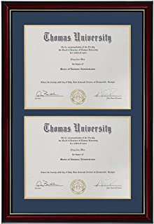 product image for Double Diploma Frame Real Wood & Glass Golden Rim for Two 8.5x11 Inch with Mat and 13.5x20 Inch Without Mat for Documents Certificates