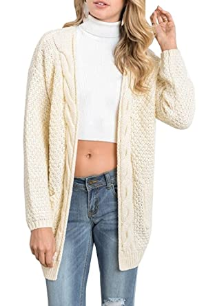 f119ea16323 Yanekop Womens Long Sleeve Open Front Knit Cardigan Sweater Warm Slouchy  Outwear(Beige