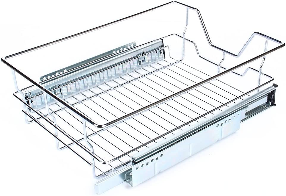Organizador de armario de cocina corredizo con alambre cromado para armarios de cocina y armarios