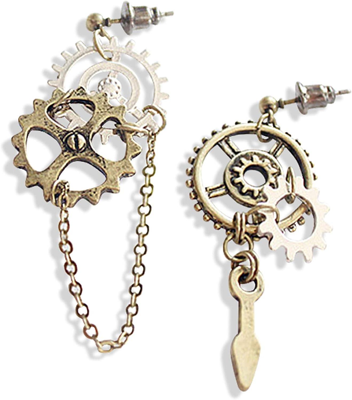 Gears /& Hearts Steampunk Dangle Earrings
