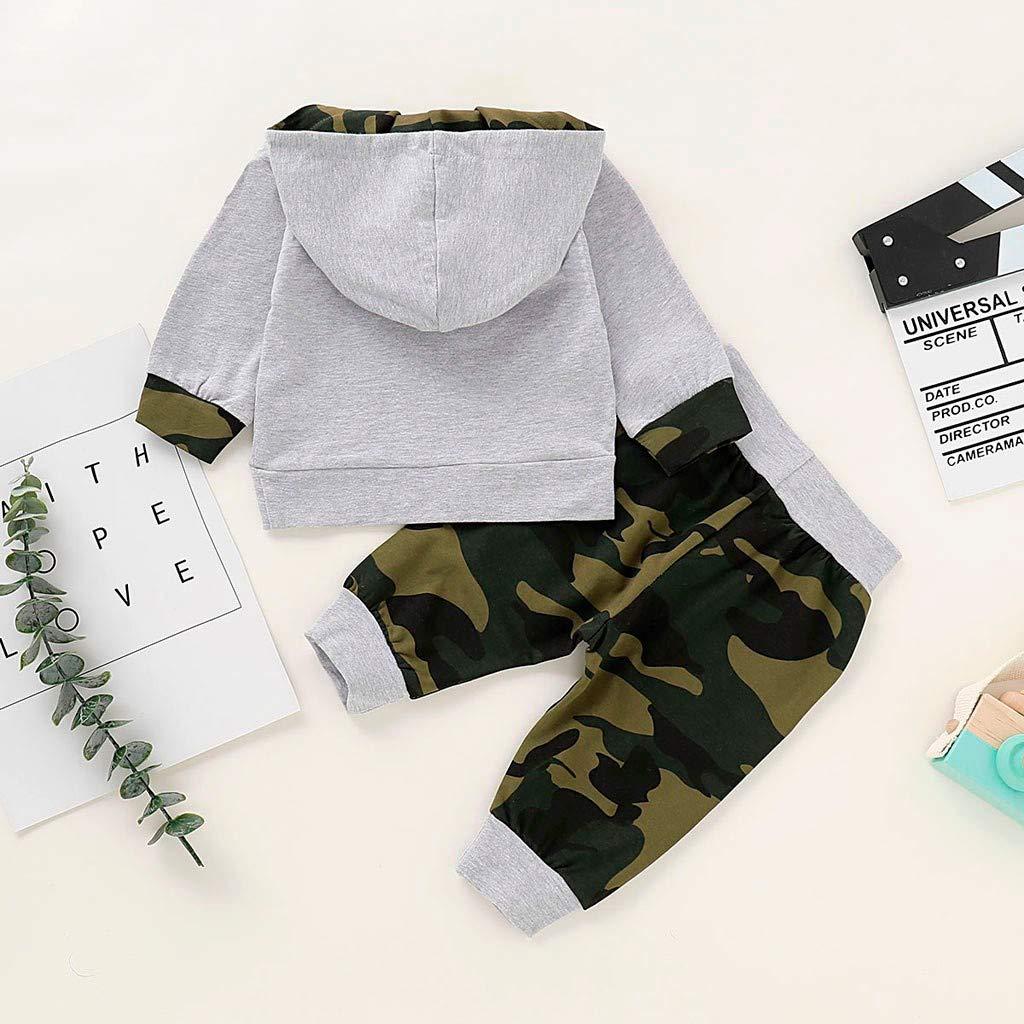 Tenues de Pantalon Automne et Hiver V/êtements Costume pour 0-18 Mois LABIUO 2Pcs Ensemble de V/êtements B/éb/é Gar/çon 100/% Coton Manche Longue Camouflage /à Capuche Sweat Tops