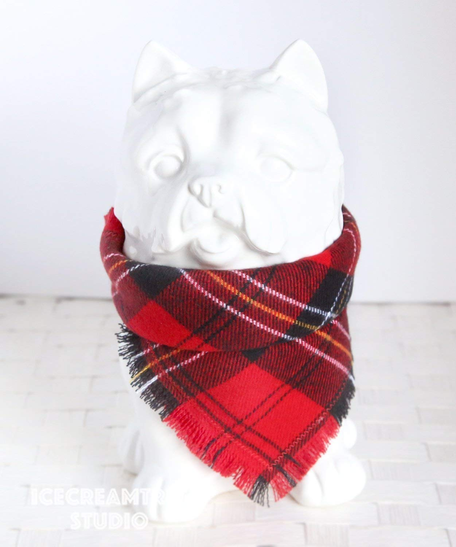 Classic Red Plaid Bandana - Tie on Classic Flannel Pet Bandana Scarf, Pet Fashion Scarf, Dog Bandana Scarf, Cat Bandana Scarf
