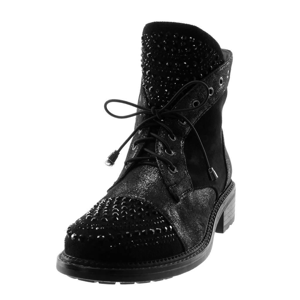 Angkorly - Damen Schuhe Stiefeletten - Biker Biker Biker - bi-Material - Metallischen - Strass - glänzende - Perforiert Blockabsatz 3.5 cm eac624