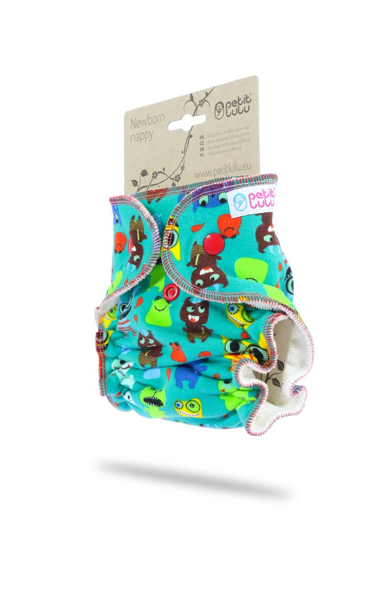 5/% Elastane Reusable /& Washable Made in Europe Snaps Petit Lulu Bamboo Fitted Newborn Diaper Outer Material 95/% Cotton Aloha!
