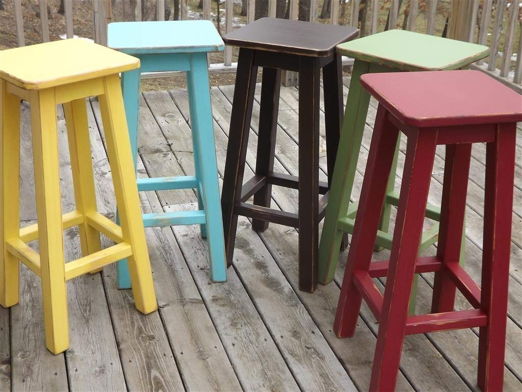 Swell Amazon Com Painted Bar Stool Counter Stool Wood Distressed Ocoug Best Dining Table And Chair Ideas Images Ocougorg