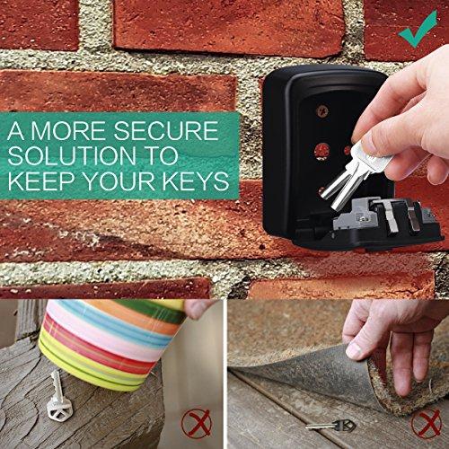 31f0c25b6852 ORIA Key Storage Lock Box, Wall Mounted Key Lock Box With 4-Digit  Combination, Holds up to 5 Keys, for House Keys or Car Keys, Black