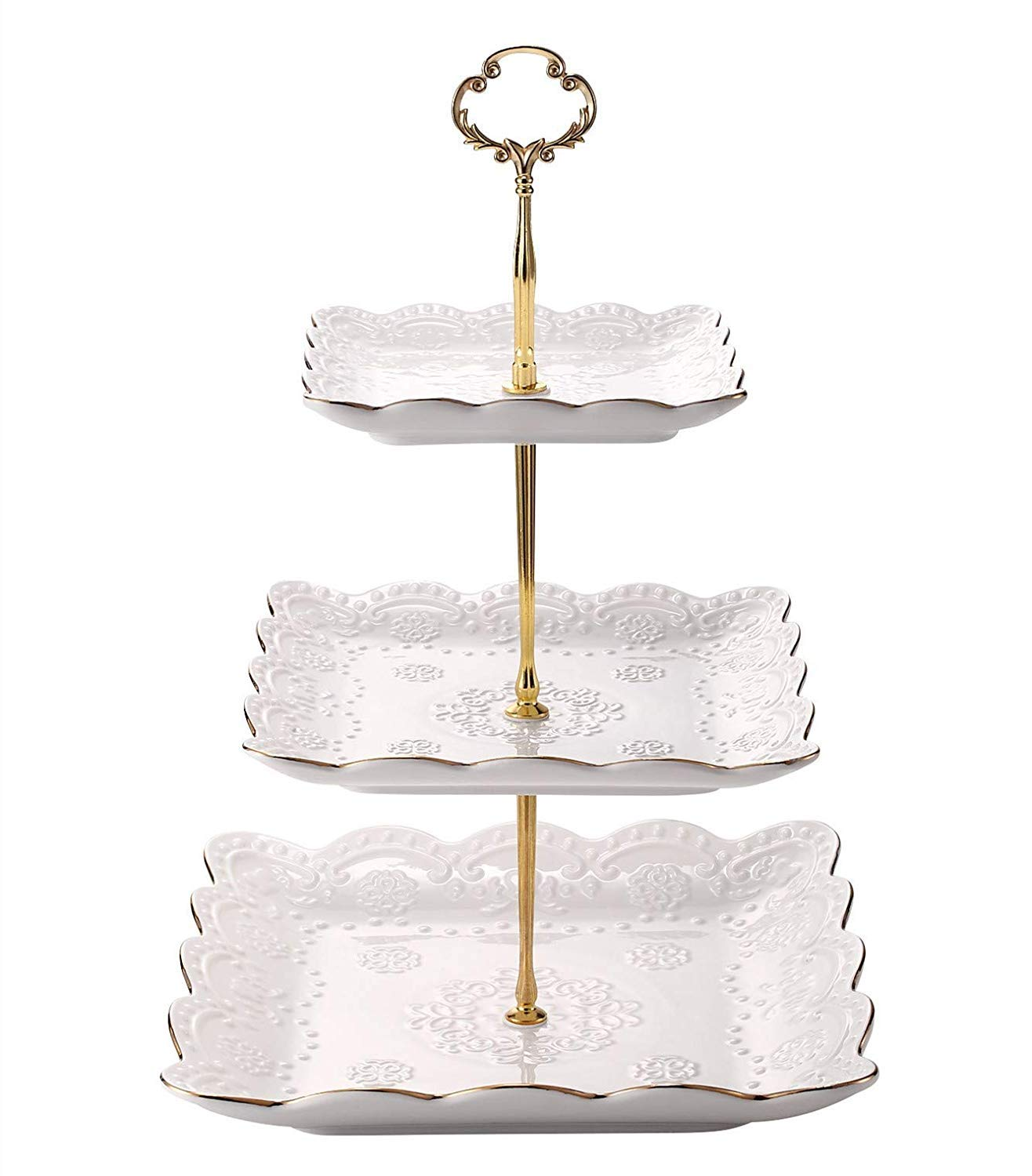 EAMATE 3-tier Square Ceramic CupCake Stand for Party or Holiday Hosting (with Gold Dessert)
