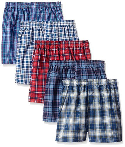 Fruit of the Loom 5Pack Boy's Plaid Boxers Boxer Shorts Kids Underwear L by Fruit of the Loom (Image #1)