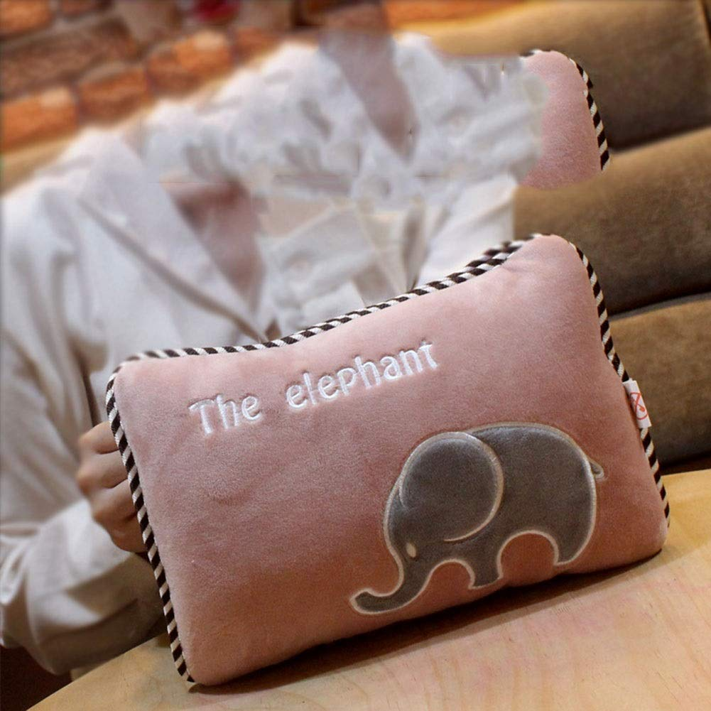 MOMOBOO Hot Water Bottle Charging Hand Warmer Electric Heating Treasure Warm Baby Hand Warmer Warm Water Bag Explosion-Proof Removable Washable Gift (Color : Doodle Powder Elephant) by MOMOBOO