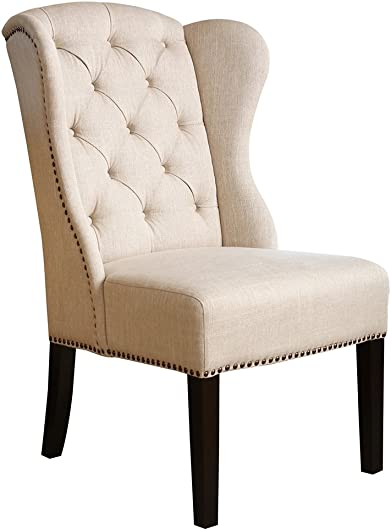 Abbyson Living Kyrra Tufted Linen Wingback Dining Chair
