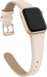 Doasuwish Genuine Leather Band Compatible for Apple Watch 38mm 40mm Slim Wristband Durable Watch Strap Compatible for Iwatch Band SE Series 6 5 4 3 2 1 Womens (Beige Band+Rose Gold Buckle)