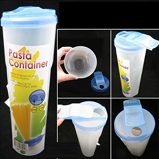 Pasta Container Food Storage Spaghetti Cereal Keeper Plastic Tall Jar Green Lid