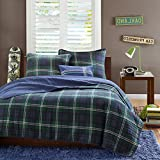 navy and green quilt - 4 Piece Boys Navy Blue Green Madras Glen Plaid Theme Coverlet Full Queen Set, Stylish All Over Tartan Check Plaided Bedding, Horizontal Vertical Stripe Lodge Cabin Themed Pattern