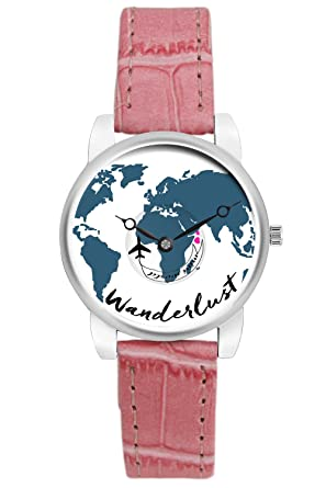 Buy travel watch bigowl airplane wanderlust world map design buy travel watch bigowl airplane wanderlust world map design leather strap casual wrist watch for women gifts for travellers moving airplane hands gumiabroncs Choice Image