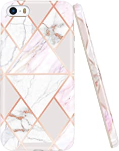 JAHOLAN Shiny Rose Gold Geometric Marble Design Slim Shockproof Clear Bumper TPU Soft Case Rubber Silicone Cover Phone Case Compatible with iPhone 5 5S - Pink