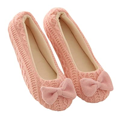 Women Home Slippers Bowknot Female Cashmere Warm Yoga Shoes (M pink)