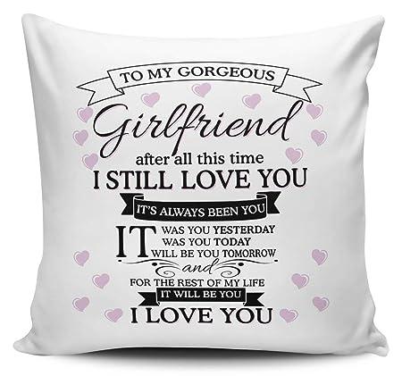UCG My Girl Pillowcase, To My Gorgeous Girlfriend I Love You Cushion Cover,  50x50 cm
