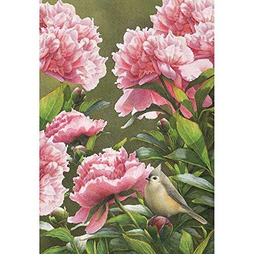 Baby Pink Peonies and Finch Bird 18 x 13 Rectangular Screenprint Small Garden Flag ()