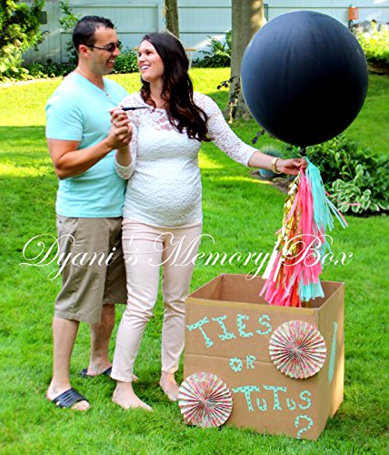 Confetti Filled-Black Gender Reveal Balloon with Tassel Tail / 36