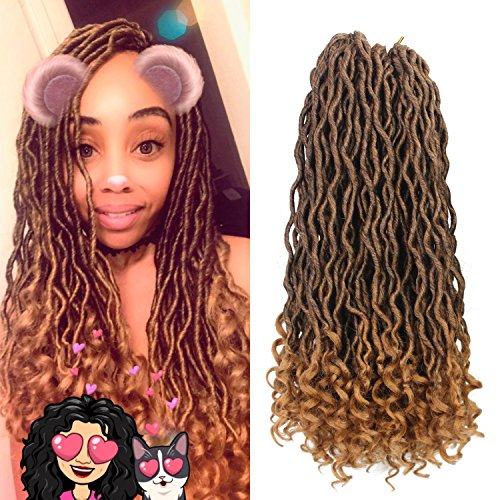 Goddess Faux Locs Crochet Hair Wavy with Curly Ends 20 Inch 6Packs/Lot Crochet Braids Faux Locs Dreadlocks Brown Blonde Synthetic Braiding Twist Hair Extensions (Blonde Goddess)