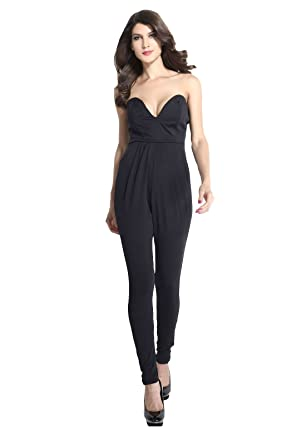 2a1778f6d27b Kaamastra Black Fitted V Neck Sleeveless Harem Pants Jumpsuit LC6584 ...