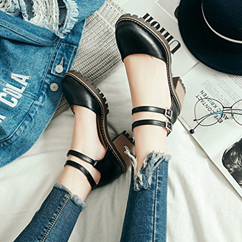 Caviglia Cinturino Tacco Grosso Scarpe Nero Tacco Elegante con Donna Xinwcang Alto C0qUf