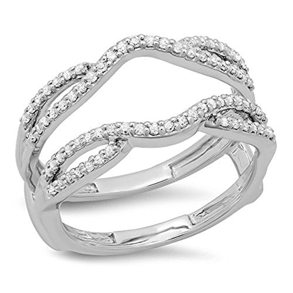925 Sterling Silver Plated CZ Diamond Ladies Wedding Band Enhancer Guard Double Ring 1/3 CT tusakha