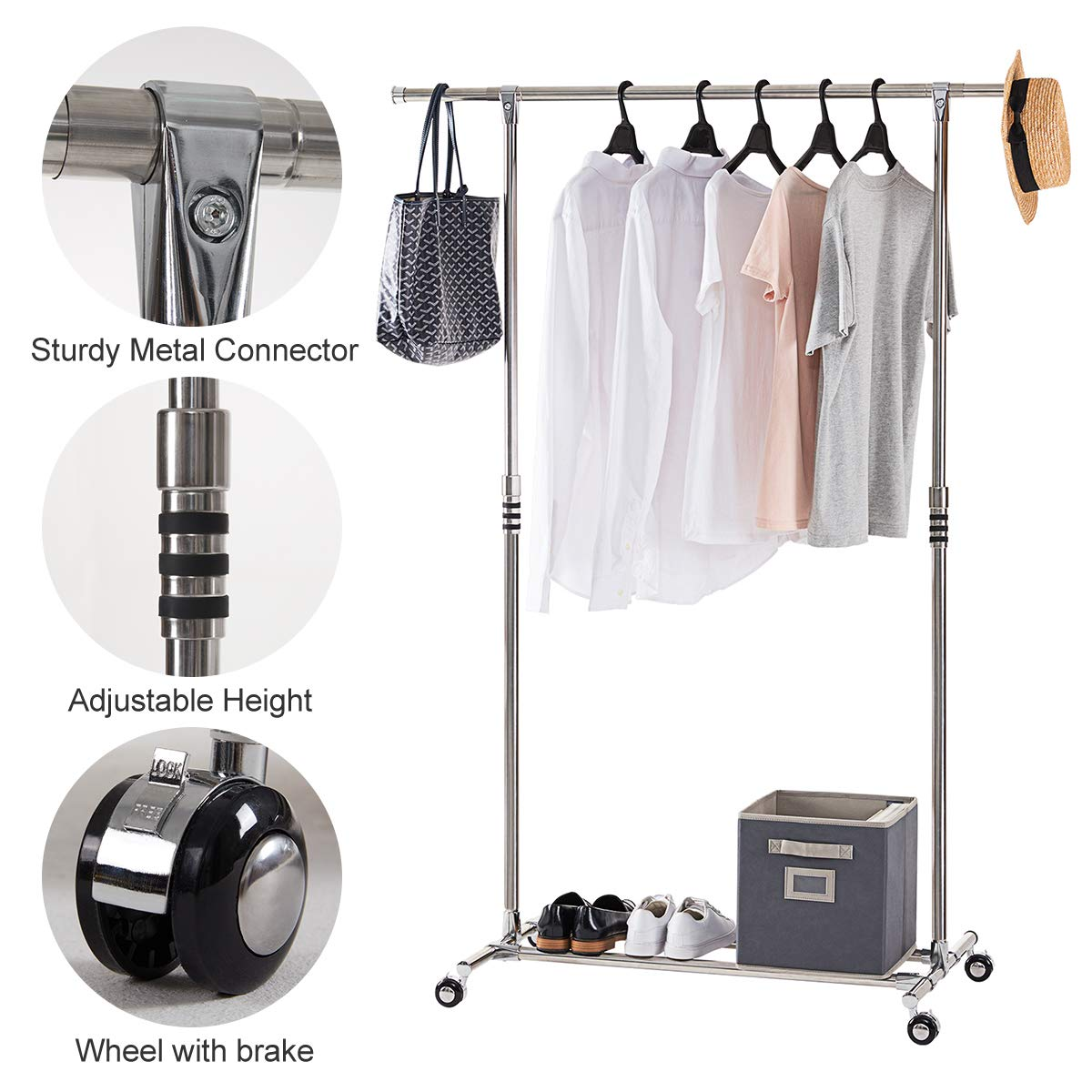 Portable Clothes Rack Organizer Height Adjustable Extendable Garment Rack with Bottom Shelf YOUDENOVA Rolling Clothing Rack on Wheels
