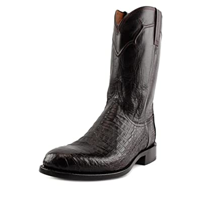 Lucchese Men's Handmade Dustin Belly Caiman Roper Boot Round Toe Black  Cherry 8 D(M