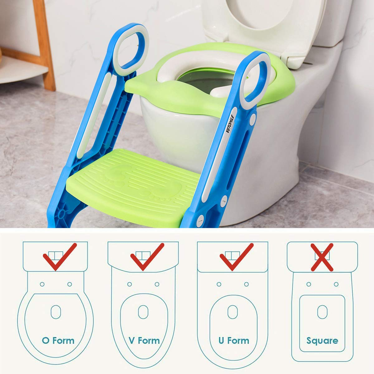 VETOMILE Baby Potty Toilet Trainer Seat for Children Kids Toddles with Adjustable Sturdy Non-Slip Step Stool Ladder and 2 PU Leather Replaceable Soft Padding Suitable for O V U Shaped-Toilets by VETOMILE (Image #6)