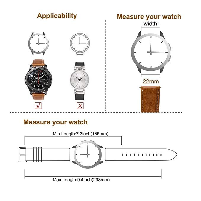 Gear s3 Correa Cuero 22mm para Reloj Samsung Galaxy Watch 46mm ...