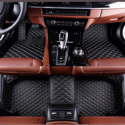 VENMAT Car Floor Mats Custom Made for Range Rover Evoque 2 Doors 2012-2015 Faux Leather All Weather Waterproof Full Surrounded 3D Anti Slip Foot Carpets (Black with Beige Stitch)